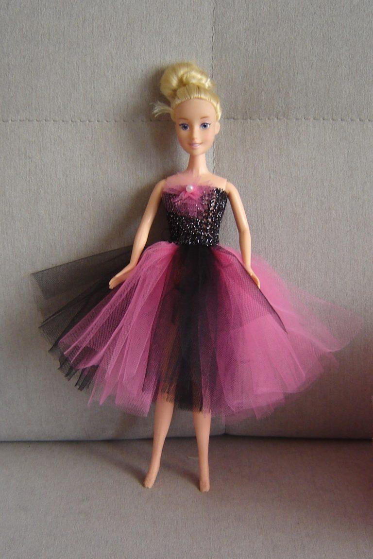 Dwukolorowa sukienka tutu dla lalki Barbie
