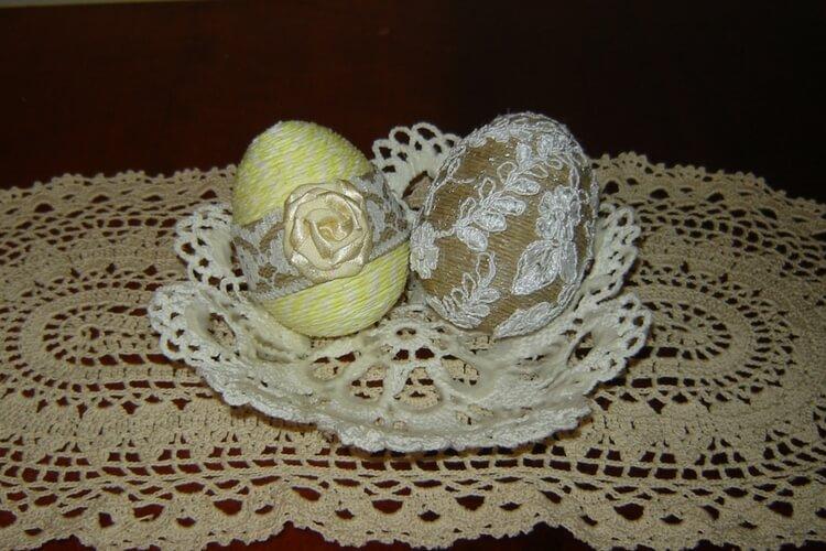 Jajka ze sznurka konopnego z koronką