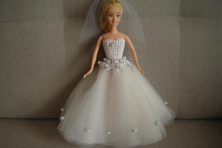 Suknia ślubna Dla Lalki Barbie Szydełkowa Góra Tiulowy Dół Beatja