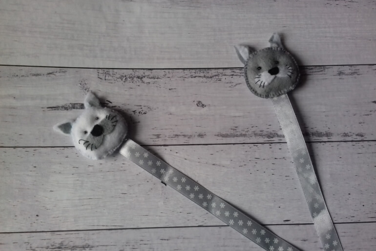Filcowe zakładki do ksiązki - kotki z tasiemką
