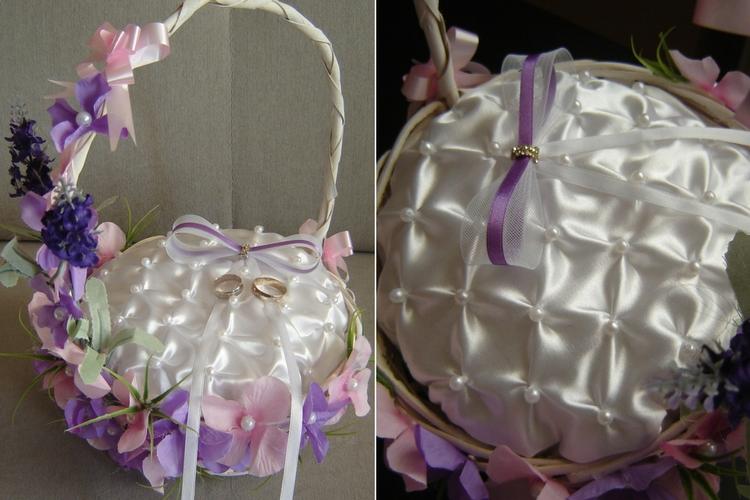 Fioletowo-różowy koszyczek na obrączki