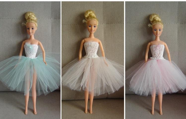 Jasna sukienka tutu dla lalki Barbie