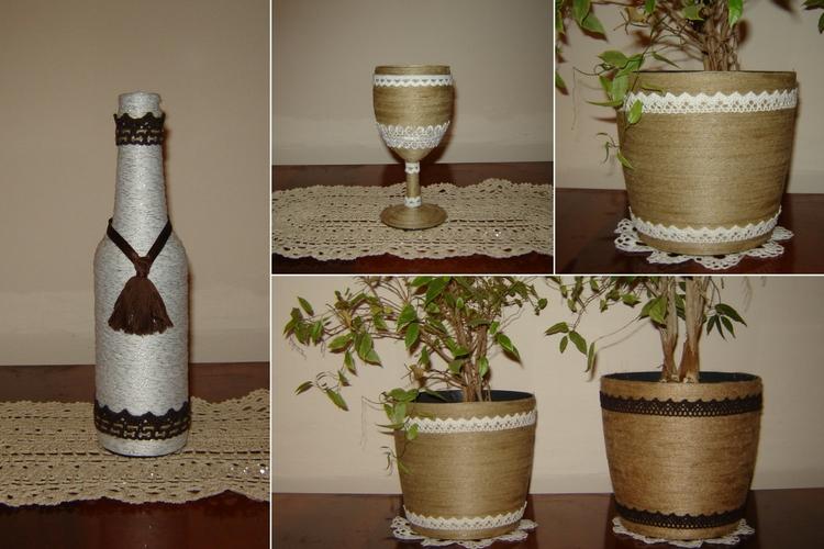 Ozdoby w stylu rustykalnym ozdobione taśmą koronkową