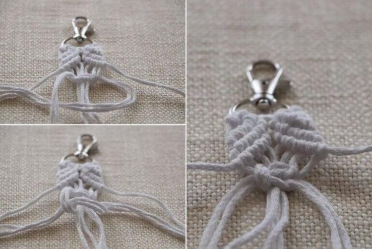Breloczek do kluczy z makramy - węzeł płaski