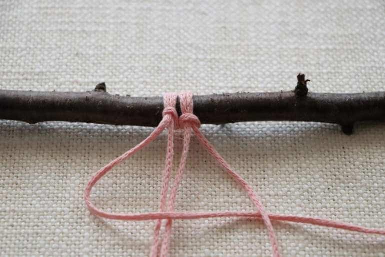 Podstawowe węzły makramy - węzeł płaski