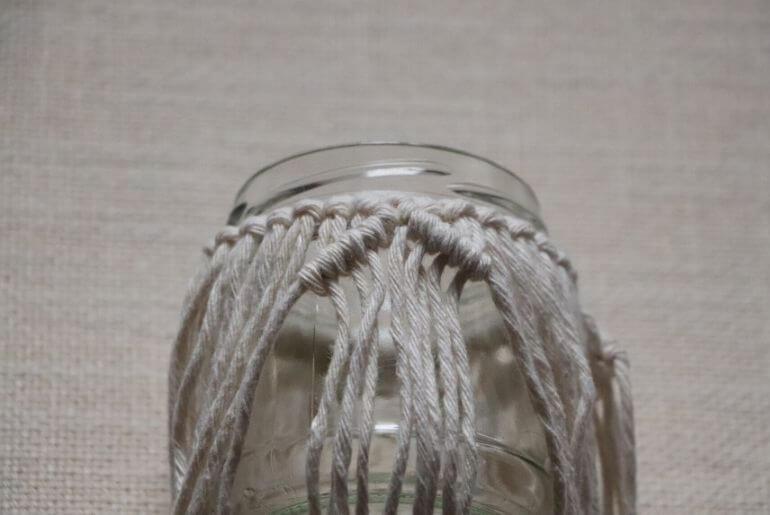 Lampion z makramy - węzeł rypsowy
