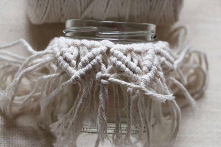 Lampion z makramy - węzeł płaski