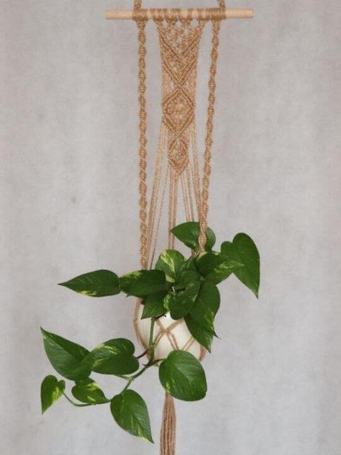 kwietnik ze sznurka na ścianę z kwiatem