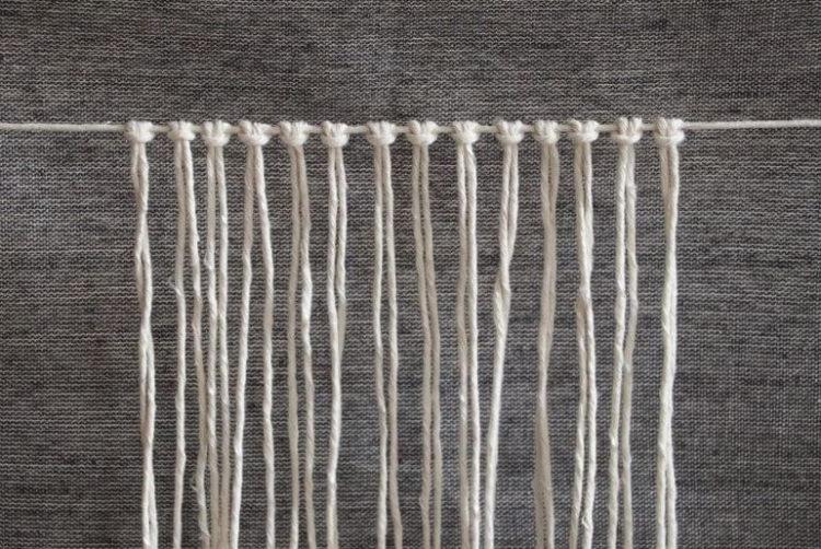 Mocowanie 14 sznurków do sznurka głównego