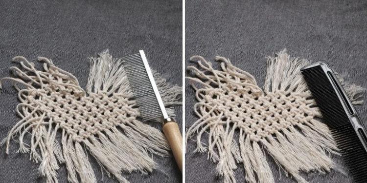 Makramowa podkładka w kształcie serca - rozczesywanie sznurków bocznych